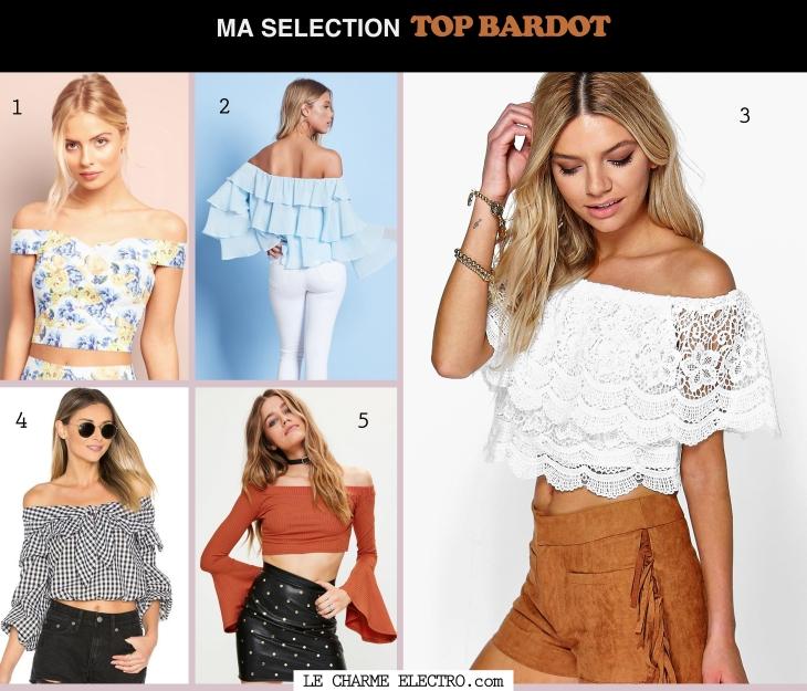 Tendance mode top Bardot epaules denudees 2017 Le Charme Electro.com