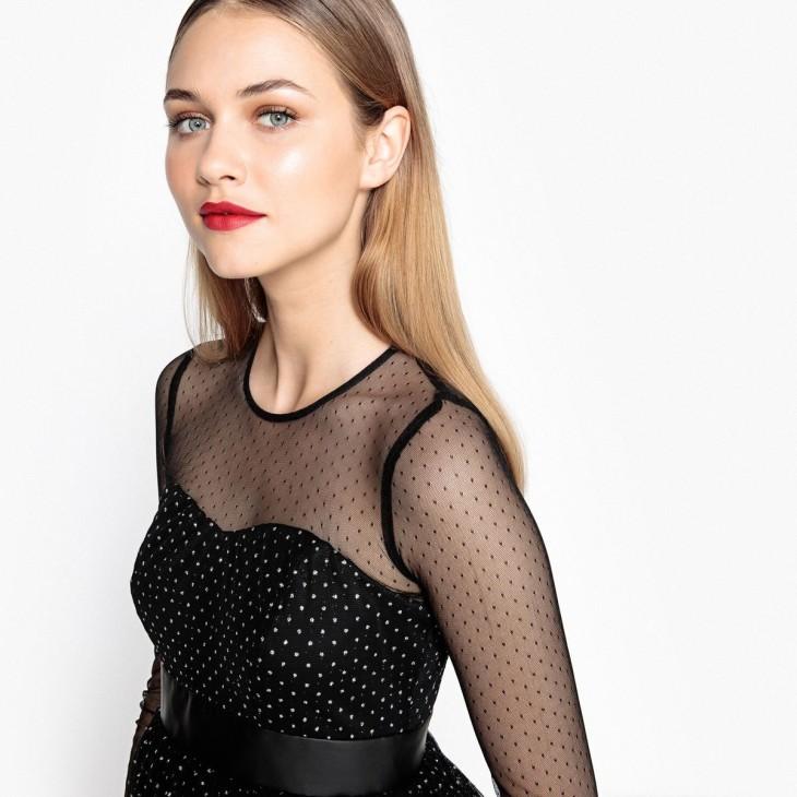 Quelle tenue jour de l'an 2018 - Idée - La Redoute - Mademoiselle R - Réf Robe patineuse Haut plumetis effet brillant