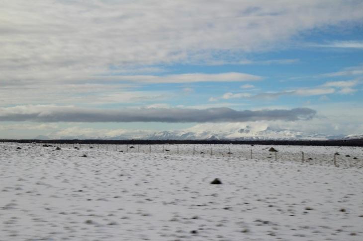 Paysage enneigé en Islande fin Mars