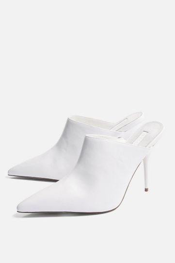"Top Shop : Mules pointues blanches ""Godiva"" Réf : 32G19NWHT"
