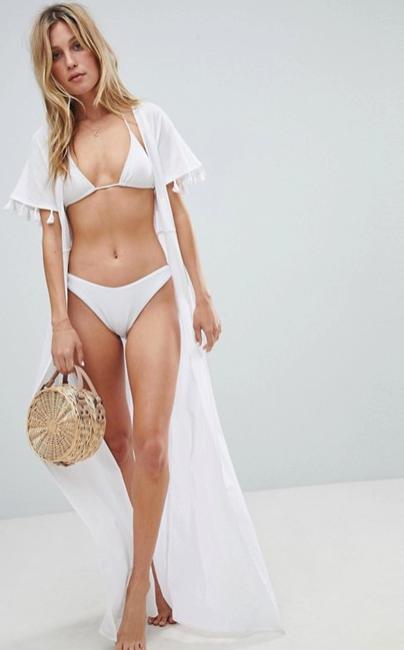 Tenue blanche - ASOS DESIGN - Kimono de plage long avec bordure à pampilles