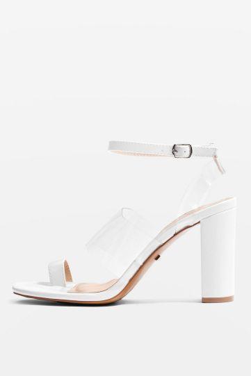 Top Shop : sandales avec brides blanches et translucidesRéf :32R04NWHT
