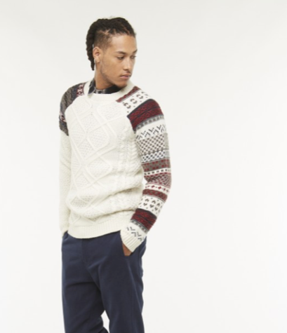 Homme pull noel - Pull en maille blanc calico - Eleven Paris