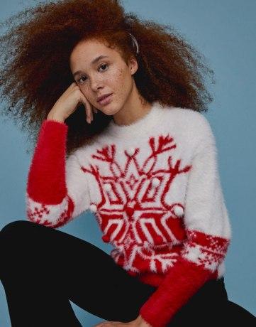 Mode femme Noel - Pull Noël fausse fourrure étoile polaire